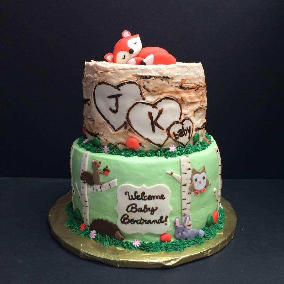 Baby Woodland Creatures Shower Cake