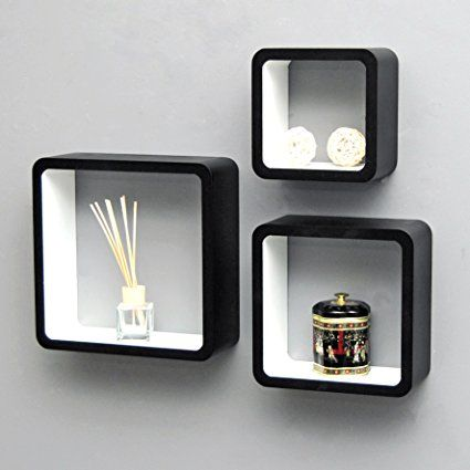 TS Ideen 5732 Set di 3 Mensole a Cubo da Parete, Stile Retró Design Anni '70, MDF, Nero/Bianco