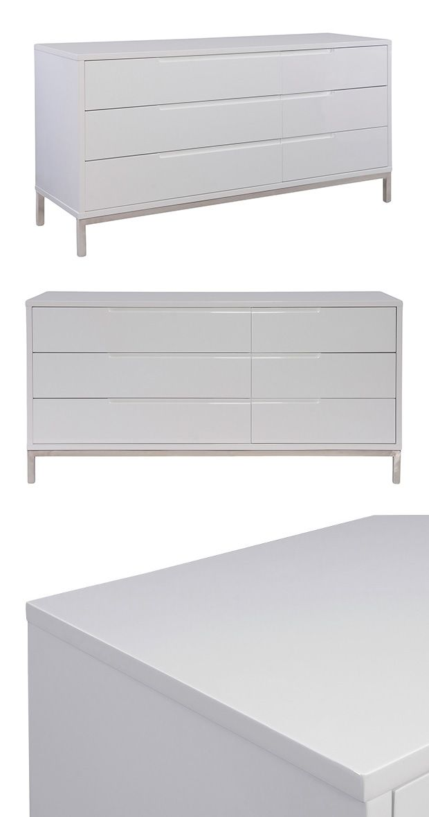 You'll never need to spring clean with this crisp, contemporary dresser on your team. The Corinne Dresser features a cleanly crafted, white finished body that's chicly set on a slim, yet sturdy stainle...  Find the Corinne Dresser, as seen in the New Arrivals Collection at http://dotandbo.com/collections/new-arrivals-2?utm_source=pinterest&utm_medium=organic&db_sku=124360