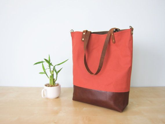 Summer Tote Bag No.1 -- Dark Coral Water Resistant Canvas with Leather Straps & Leather Bottom on Etsy, $99.00
