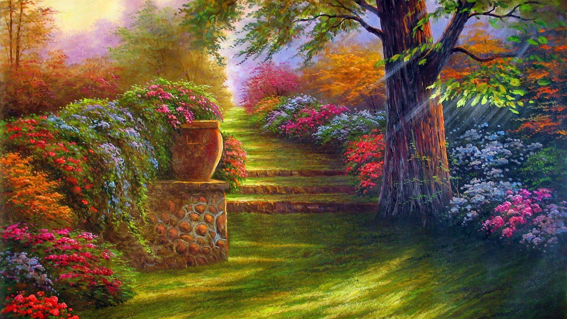flower gardens wallpaper (With images) Landscape