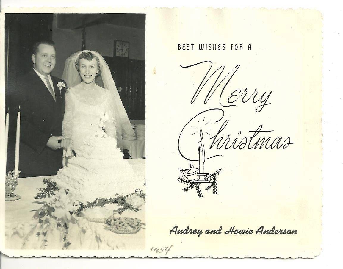 Vintage Photo Christmas Card Wedding 1954 Bride Groom Audrey Howie Anderson 260   eBay
