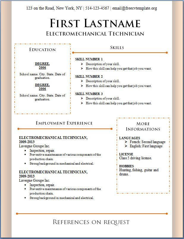 Free Curriculum Vitae Blank Template - http\/\/wwwresumecareer - free resume templates microsoft word download