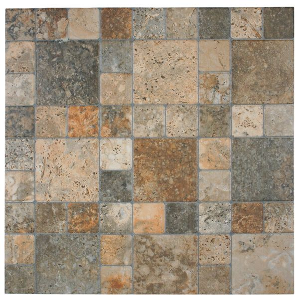 The Somertile Folio Por Noce Porcelain Floor And Wall Tile Features A Glaze Crafted To Look Like Stone Various Squares Earth Tones Natural Patterns