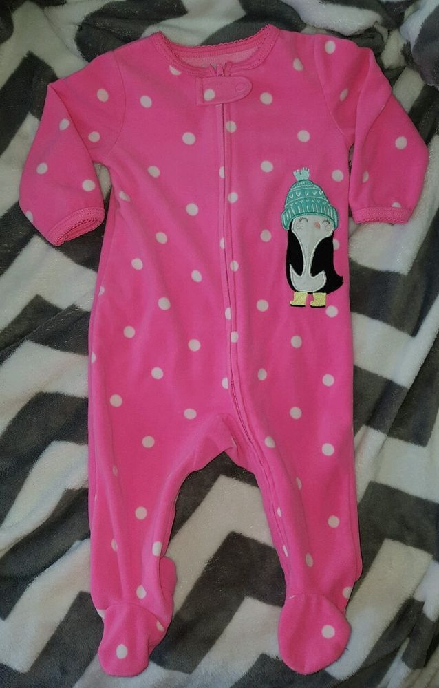2ec93d73a Carters Bright Pink Polka Dot Winter Penguin Footed Sleeper 6 Month ...