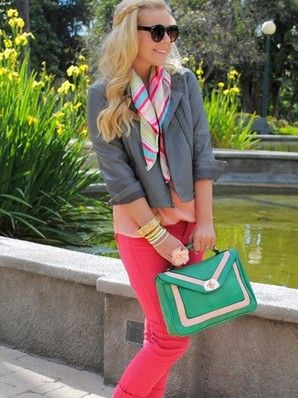 Love all the colors, but especially that bag! (Fash Boulevard Colorblock Bag $49 at Frock Candy!)