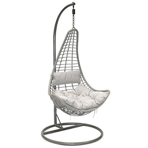 Charles Bentley Garden Patio Outdoor Grey Rattan Hanging Swing Chair With  Grey Cushion