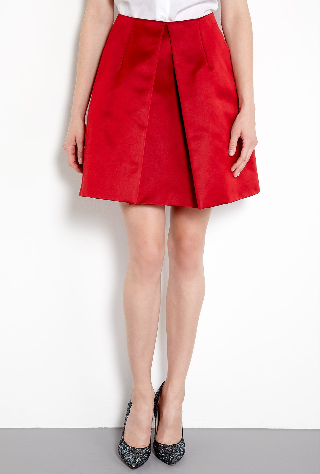 dbb7db655c Carven Red Box Pleat Satin Skirt Satin Skirt, Pleated Skirt, Box Pleats, Red