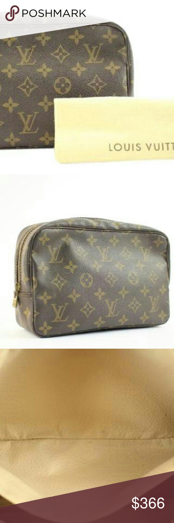 """""""Louis Vuitton Cosmetic Clutch 152LVA1025 """" This item will ship immediately!!  Previously owned.  Made In: France  Measurements: Length:10"""" Width:2.4"""" Height:6""""  Zipper works well.  Signs of Wear: Scuffs on the exterior. Discoloration and slight tarnishing of the hardware. Marks on the interior.Dust bag included. SKU : 152LVA1025 Louis Vuitton Bags Crossbody Bags"""