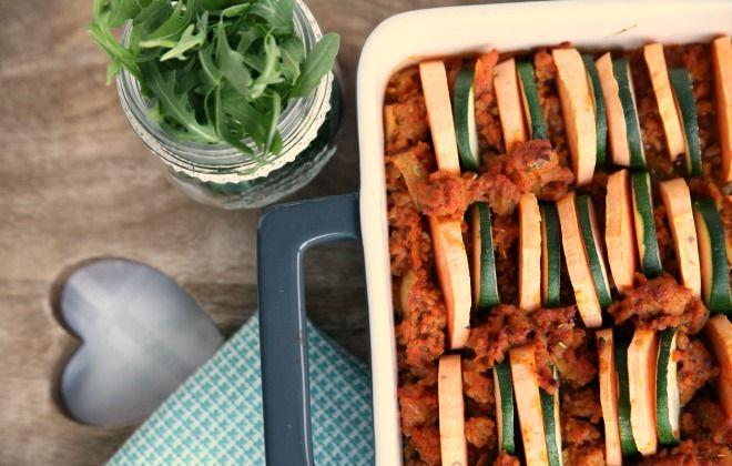 ovenschotel zoete aardappel courgette