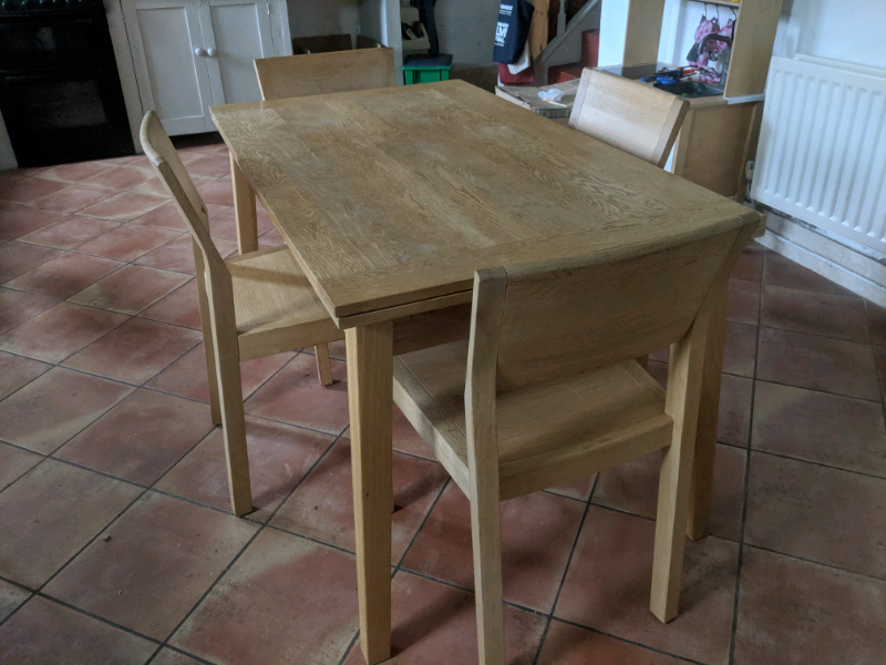 Habitat Ruskin Solid Oak Extending Dining Kitchen Table And Chairs In Newcastle Tyne And Wear With Images Dining Table In Kitchen Dining Table Chairs Kitchen Table