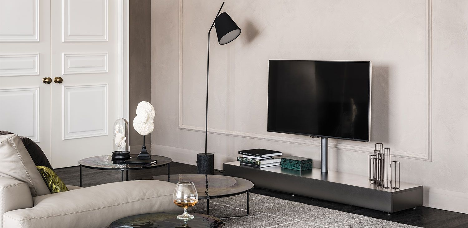 Pixel tv stand with 15 adjustable support embossed white gf71 or black gf73 painted base and flap door tv max capacity 50 kg pre arranged for