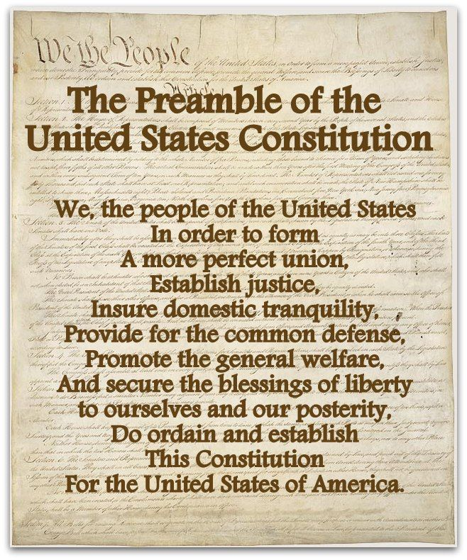 Image result for preamble to the constitution of the united states