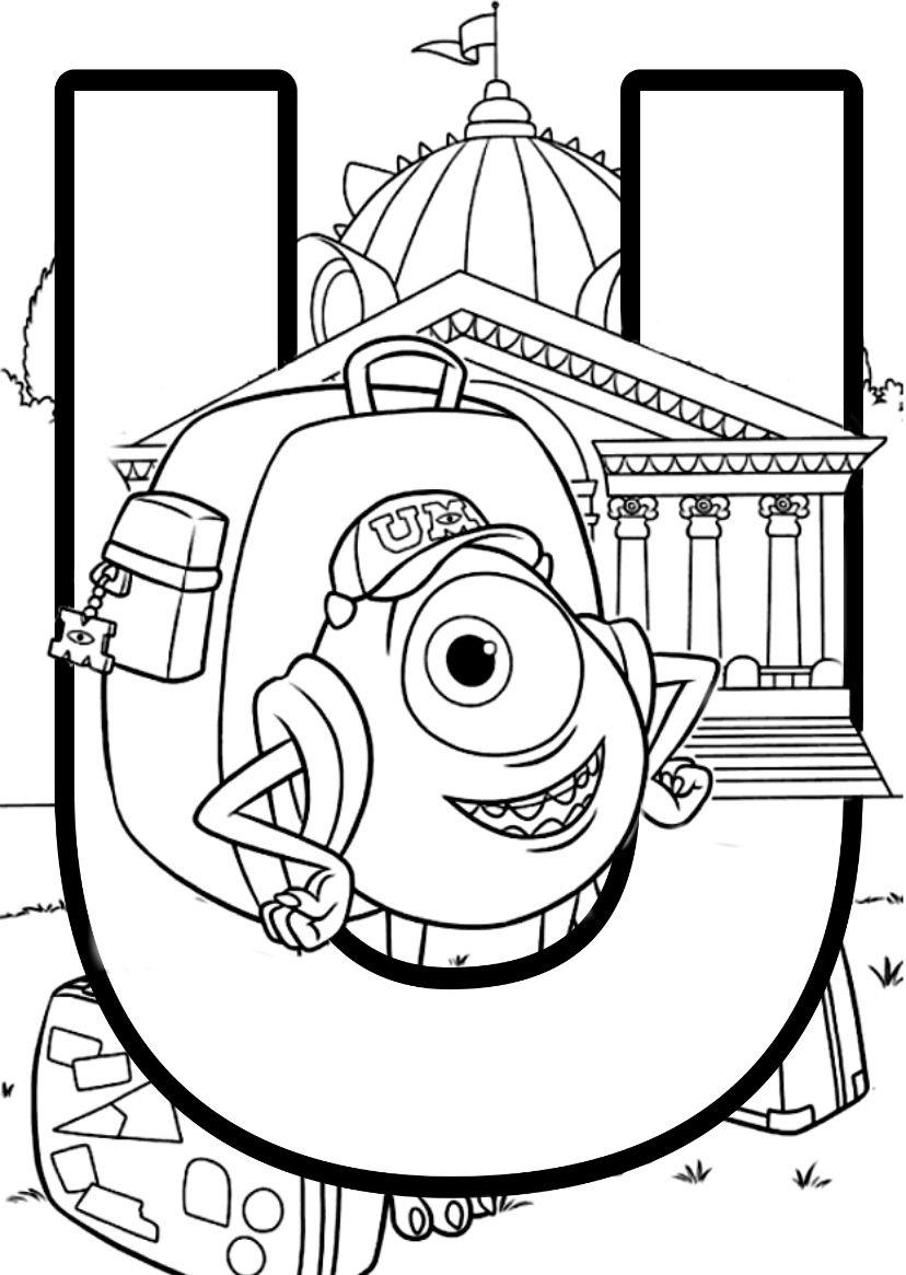DISNEY PIXAR ALPHABET COLOURING PAGES  Disney coloring pages