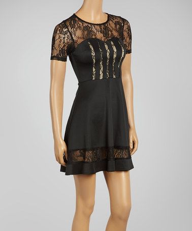 Take a look at this Black Lace Fit & Flare Dress on zulily today!
