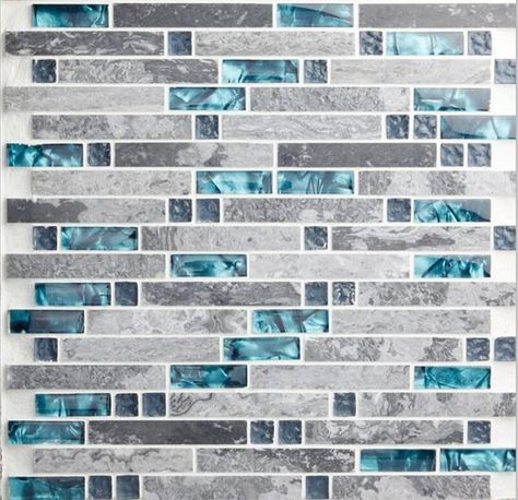 Modern Linear Wall Tile with Gray and Teal 9805-12.4x12 Per Sheet, Polished Marble and Glass Mosaic Backsplash for Kitchens or Bathroooms #bluegreykitchens