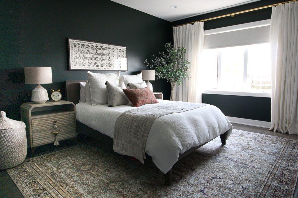 amusing green gray bedroom ideas kids | Dark Green Guest Room with Boho Style | Dark green rooms ...