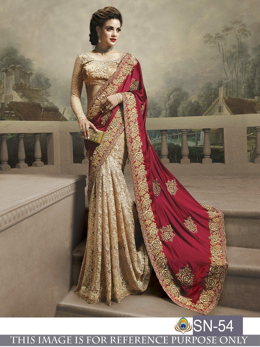 Buy maroon and beige color satin silk georgette and rasal net saree