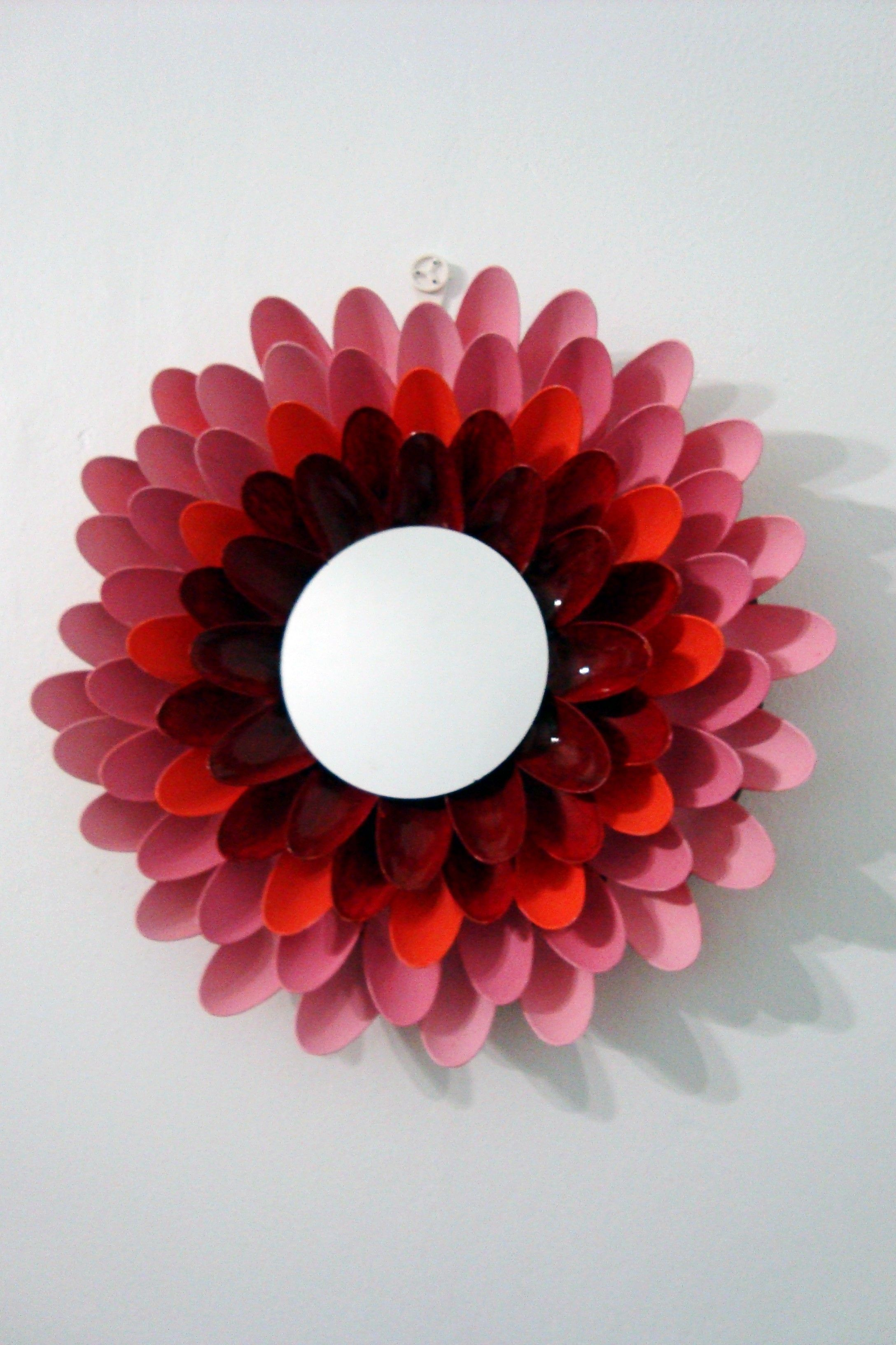 DIY Flower mirror made with plastic spoons