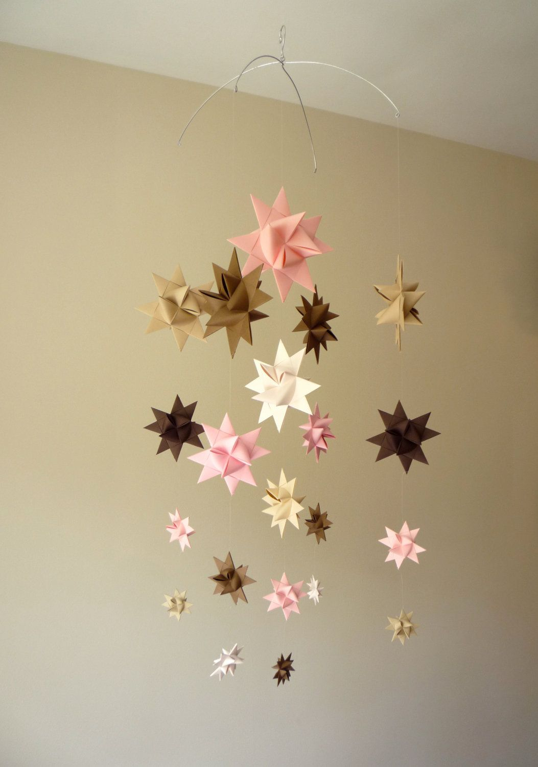 baby crib mobile hanging origami stars 39 pegasus 39 pinks and browns 68 00 via etsy origami. Black Bedroom Furniture Sets. Home Design Ideas