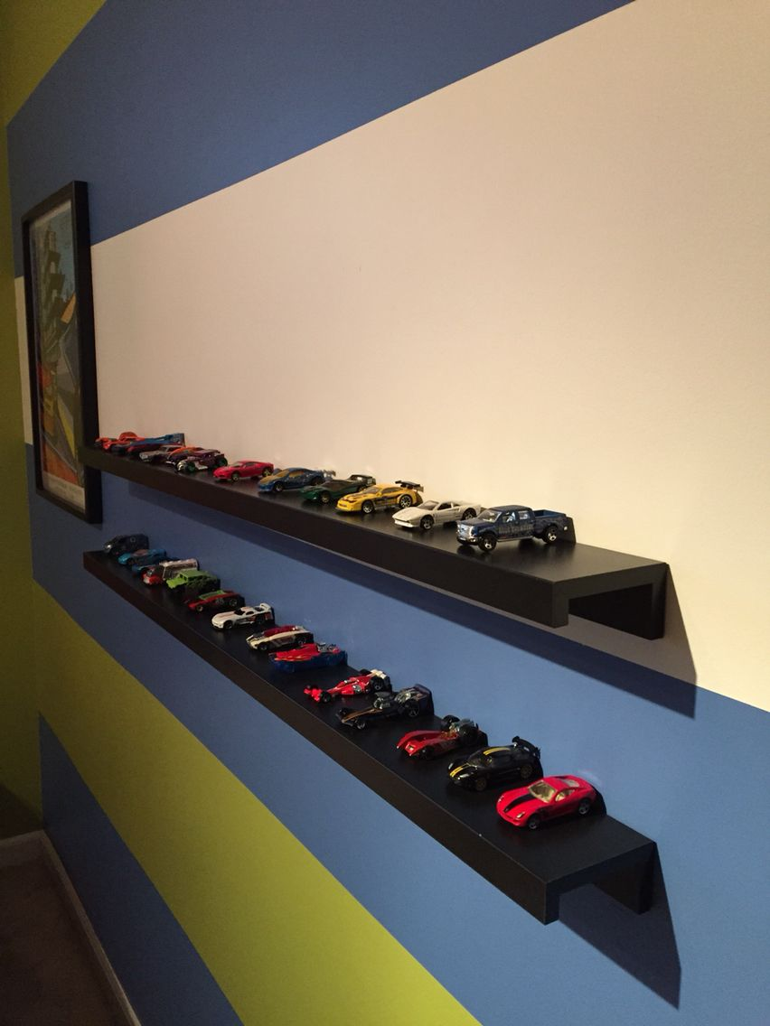 Ribba shelf from Ikea used to display Hot Wheels cars. We