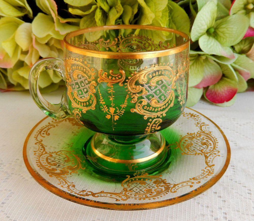 Moser Bohemian Glass Cup & Saucer Gold Gilt