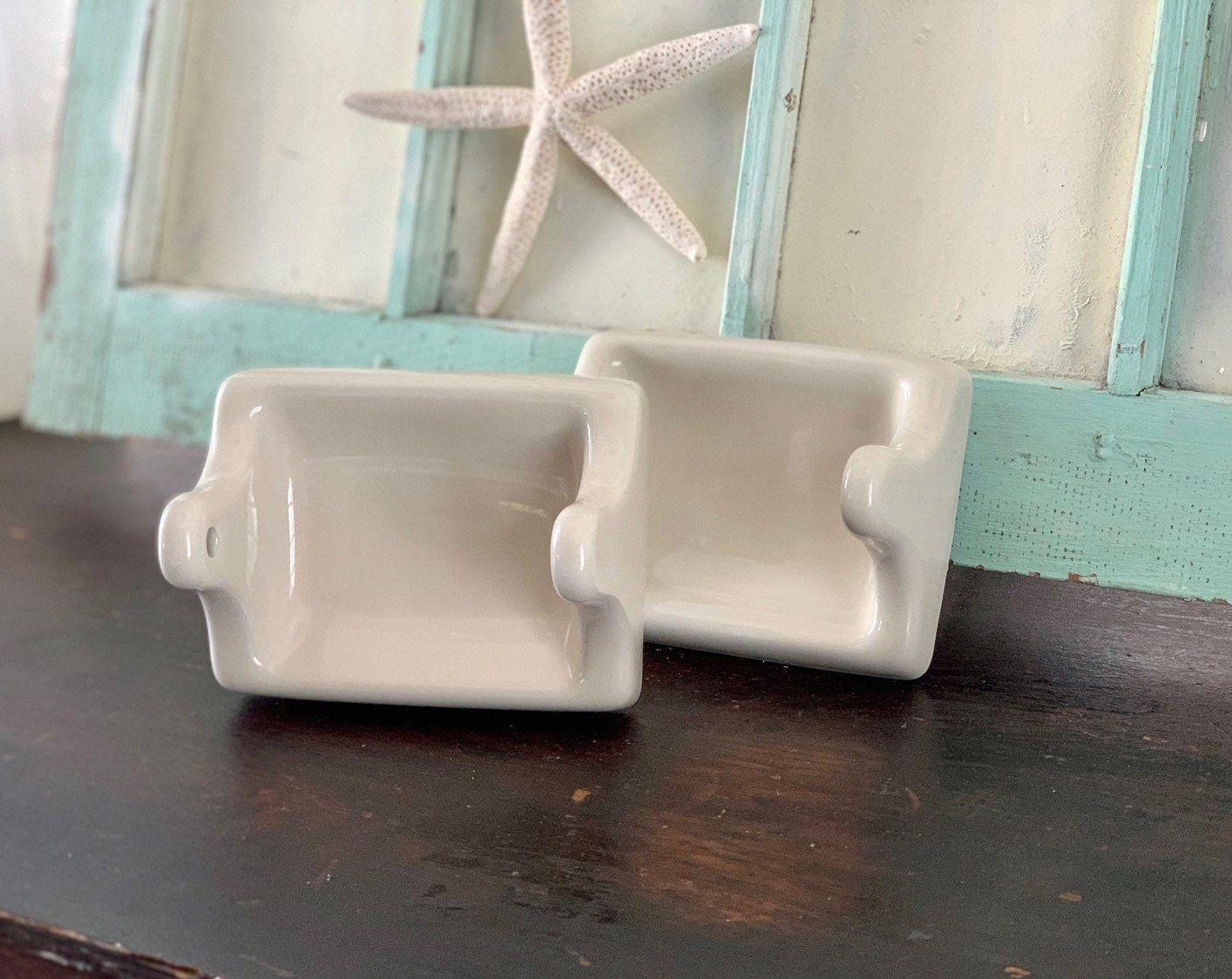 Photo of Toilet Paper Holder, Vintage Ceramic Bathroom Fixtures, Midcentury Bathroom Fixtures, Vintage Ceramic Toilet Paper Holder, Wall Mount