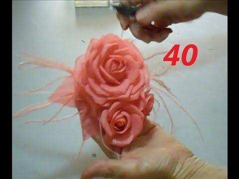 Aula 40 Arranjo De Rosas De Tecido Engomado E Frisado Com