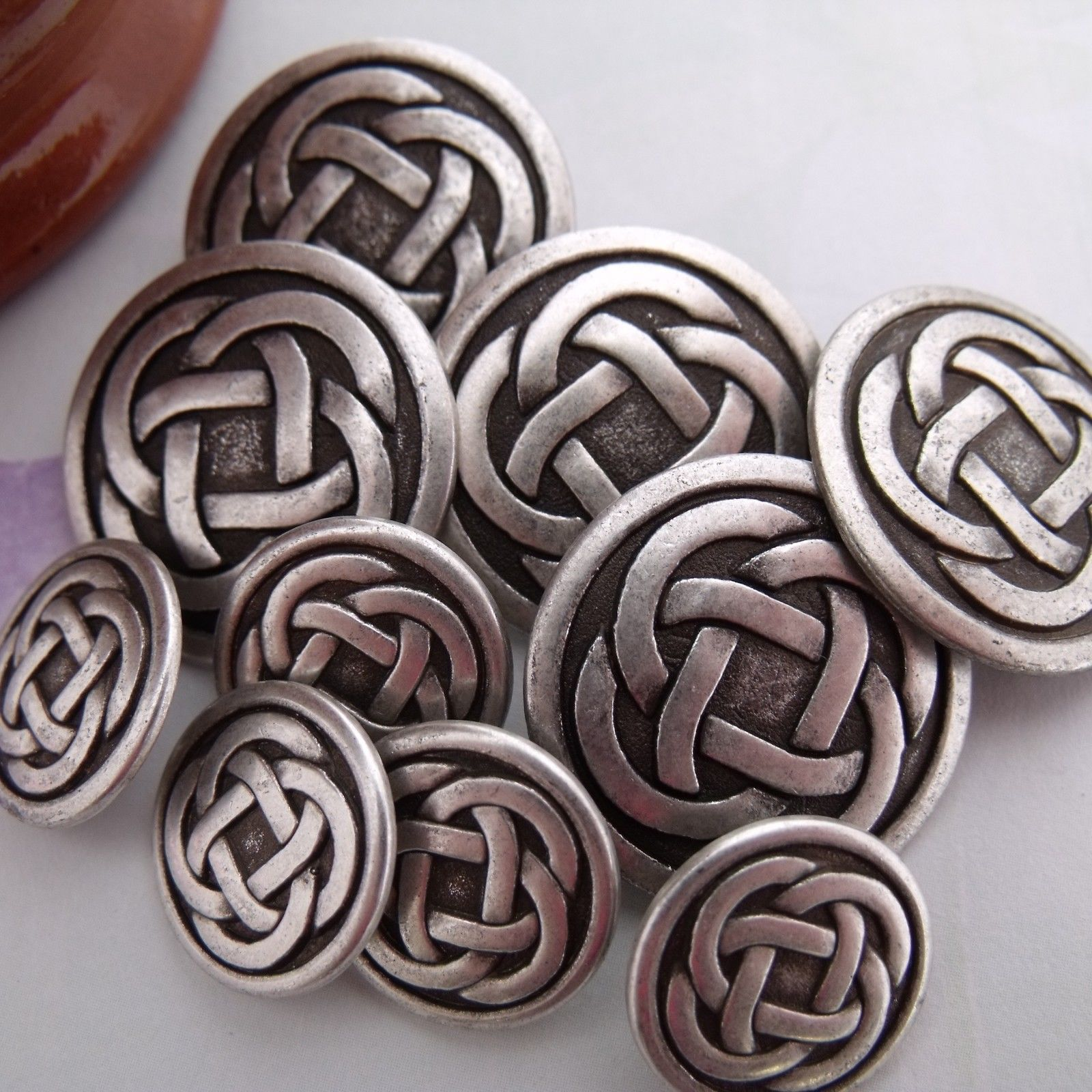 x celtic knot metal buttons sizes mm mm mm in
