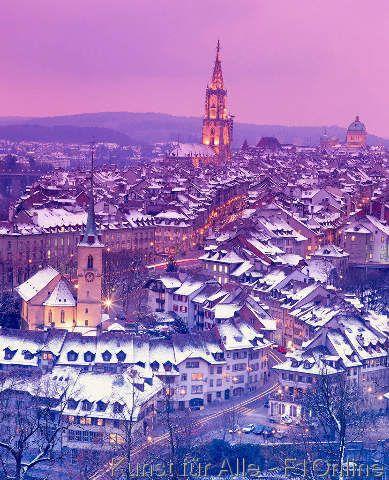 Schneebedeckte Dächer, Stadt Bern