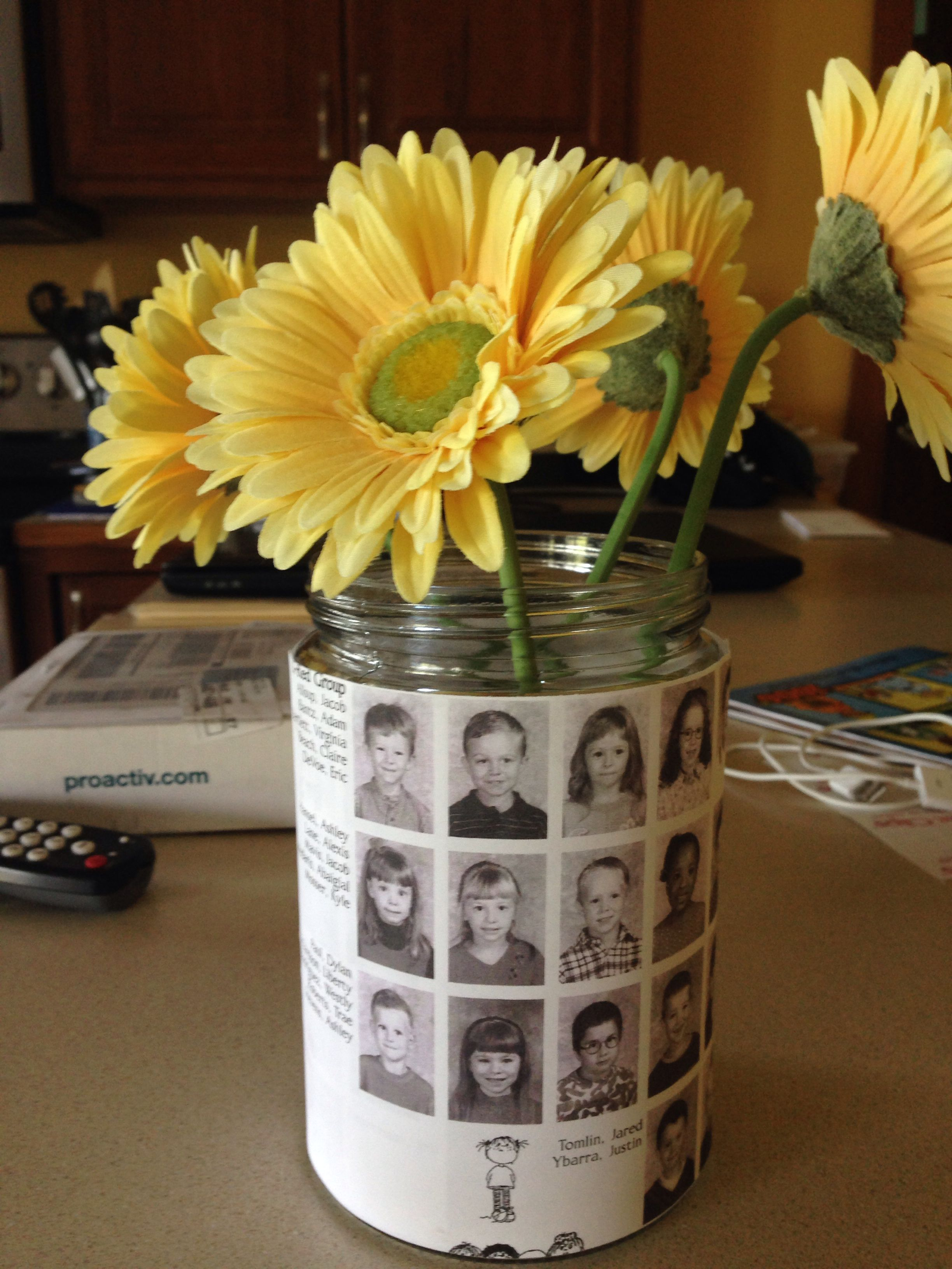 Graduation centerpiece.  Use copies of your child's yearbook of their class picture!