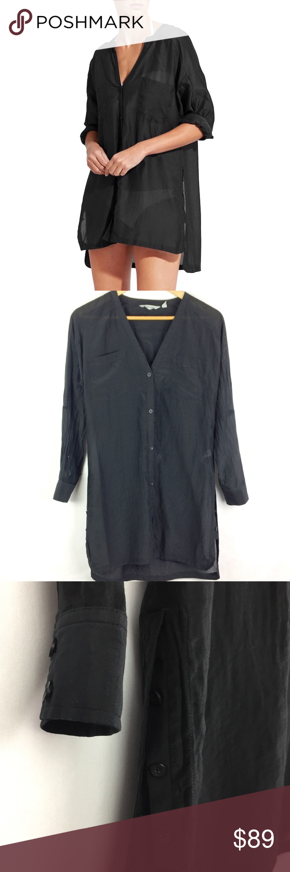 9e72fa6832 Athleta Kaftan Shirt Black Semi-Sheer Button Down •Athleta Kaftan Shirt  Black Button Down