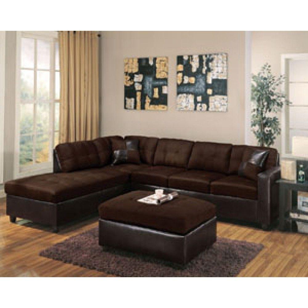 Acme Furniture Milano Reversible Sectional Sofa In Chocolate Easy Rider Esp Pu