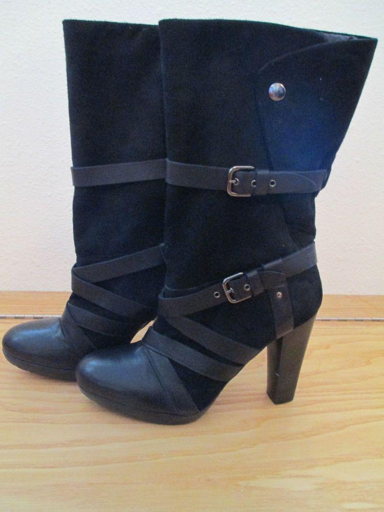 NEW Stuart Weitzman Black Mid Calf Strappy Boot - 9.5 #StuartWeitzman #FashionMidCalf