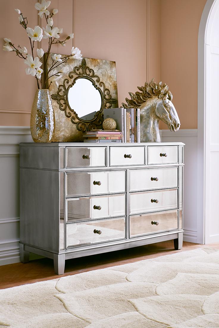 Hayworth Mirrored Silver Dresser   Rave