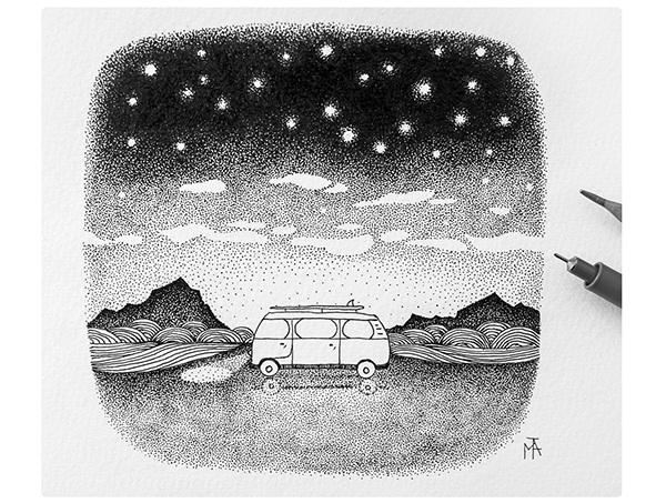 Drawing With Lines And Dots : Van stars drawing sketch mountain sea ocean night lines