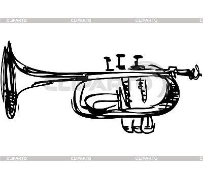 Cobre Instrumento Musical Cornet Ilustracion Vectorial De Stock Tatuaje De Trompeta Trompeta Dibujo Instrumentos Musicales