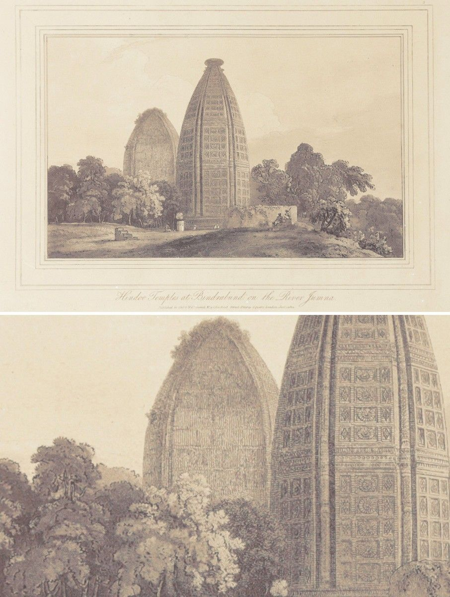 Hindu Temple At Bindrabund On The River Jumna Lithograph - 15in X 12in #vintage #india