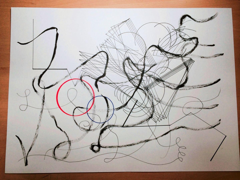 4~5주차 포스터 2. 프리핸드로 그린 붓펜 드로잉을 가장 위에 얹고, 아래에는 처음 제스쳐를 시도할 때 작업했던 칼을 휘두르는 검사의 모습을 선적으로 정리하여 레이어로 깔았습니다. 두번째 레이어는 전기회로에 불이 들어오는 과정의 움직임을 보고 회로의 움직임 과정을 넣고자 했습니다. 붓펜, 색연필, 피그먼트 라이너 잉크 펜, 볼펜을 사용했습니다.