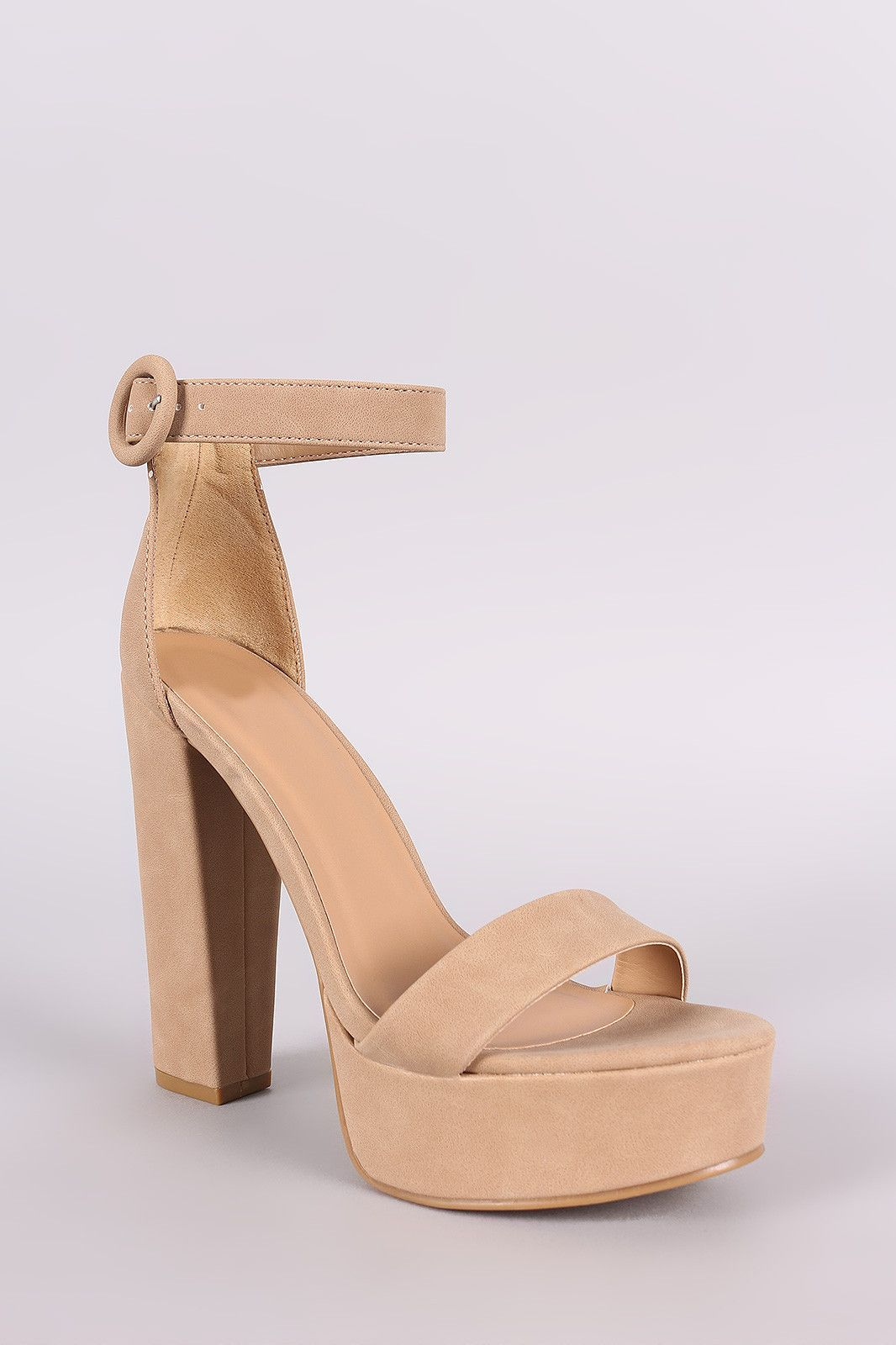 1523ad3dd67 Bamboo Nubuck Ankle Strap Platform Chunky Heel