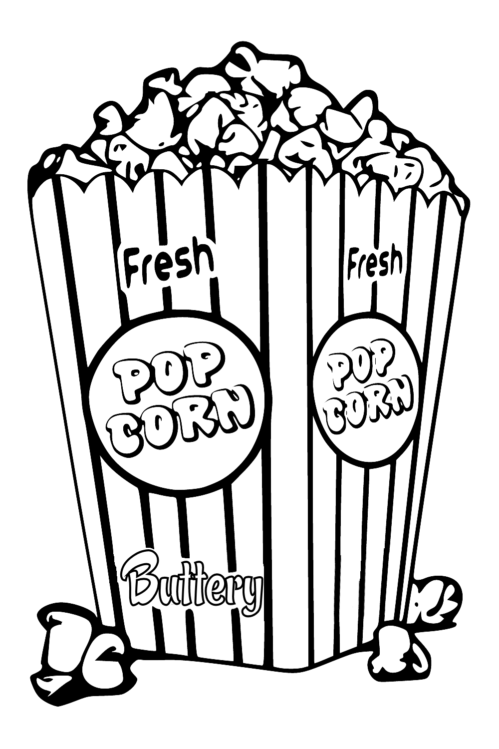 Saturday is Coloring pages, Colored popcorn