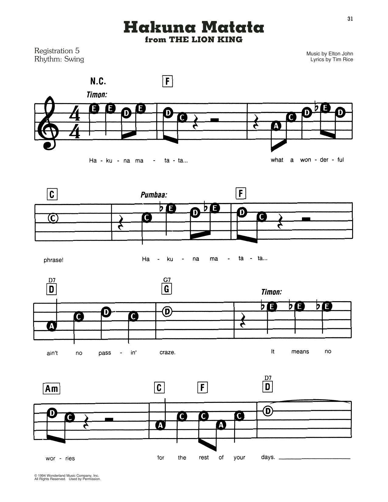 Elton John Hakuna Matata From Disney S The Lion King Sheet Music Notes Chords In 2021 Sheet Music Notes Music Notes Sheet Music