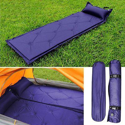 Air Inflatable Self Inflating Camping Mat Pillow Sleeping Pad Mattress Bed Blue