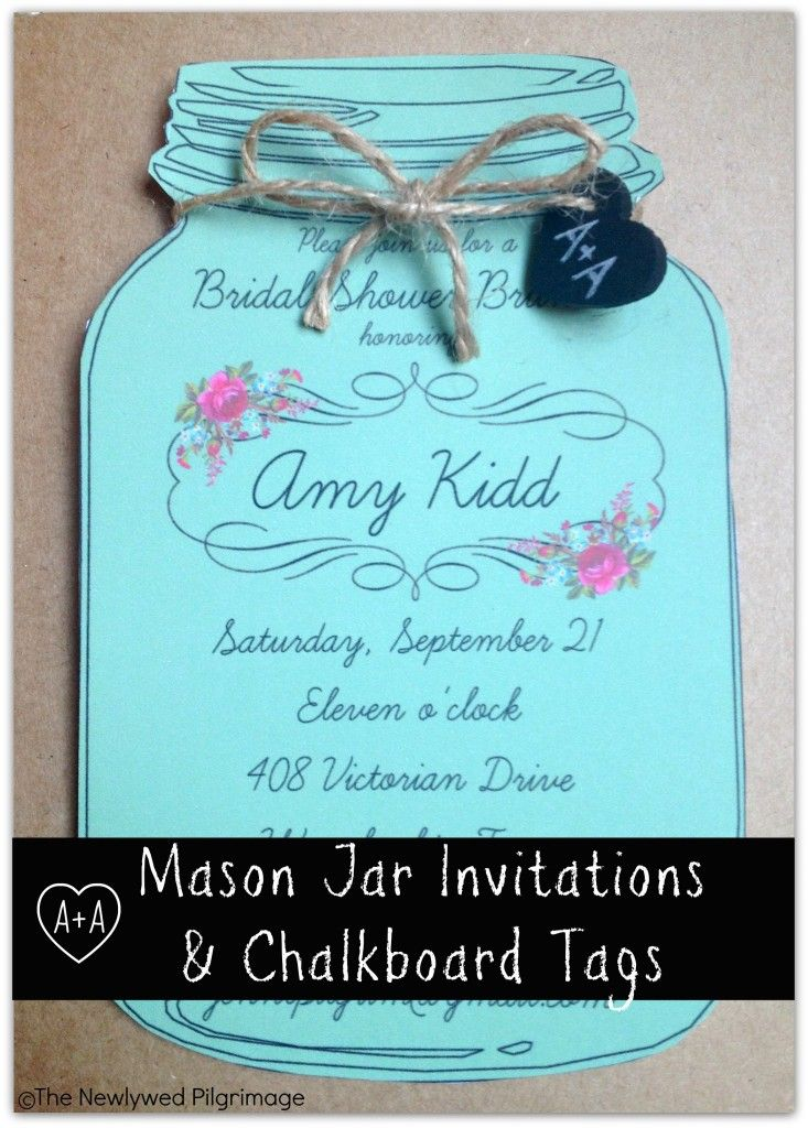 Mason Jar Invitations and Chalkboard Tags for Weddings or Showers