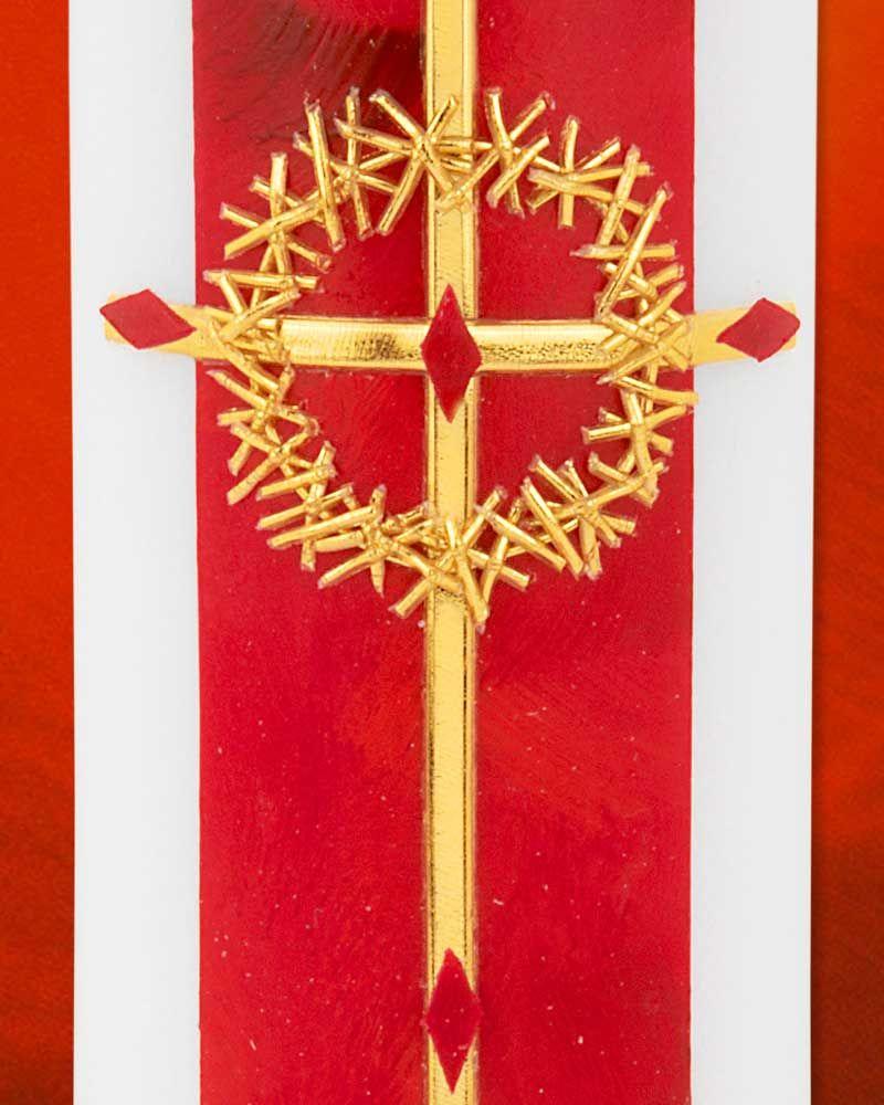 Osterkerze a o 225 x 70 mm rot dornenkrone gold kerzen gestalten osterkerze kerzen und ostern - Osterkerzen modern ...