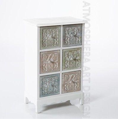 Mobiletto mobile cassettiera legno color 6 cassetti shabby chic ...