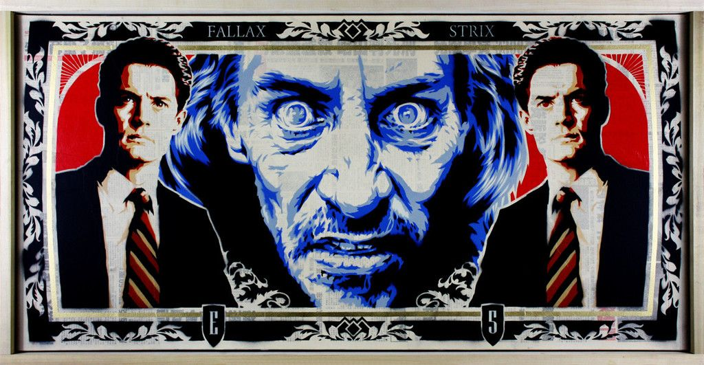 """Twin Peaks - Epyon5 - ''Welcome to the Black Lodge'' ---- HERO COMPLEX GALLERY PRESENTS: """"IMAGINED WORLDS; The Imagined Worlds of del Toro, Gilliam, Kubrick, Lynch & Scott"""""""