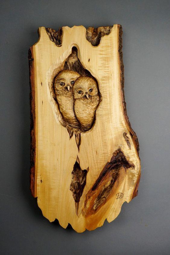 Hibou Chouette Sculpture sur Bois Art Murale Art Animalier Oiseau en