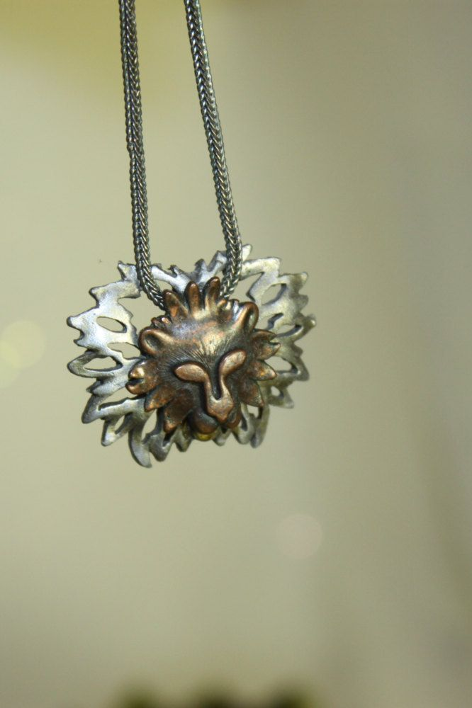 Copper Pewter Lion Head Necklace with chain Vintage Unisex Pendent Mod Face Wild Mane Retro jewelry - pinned by pin4etsy.com