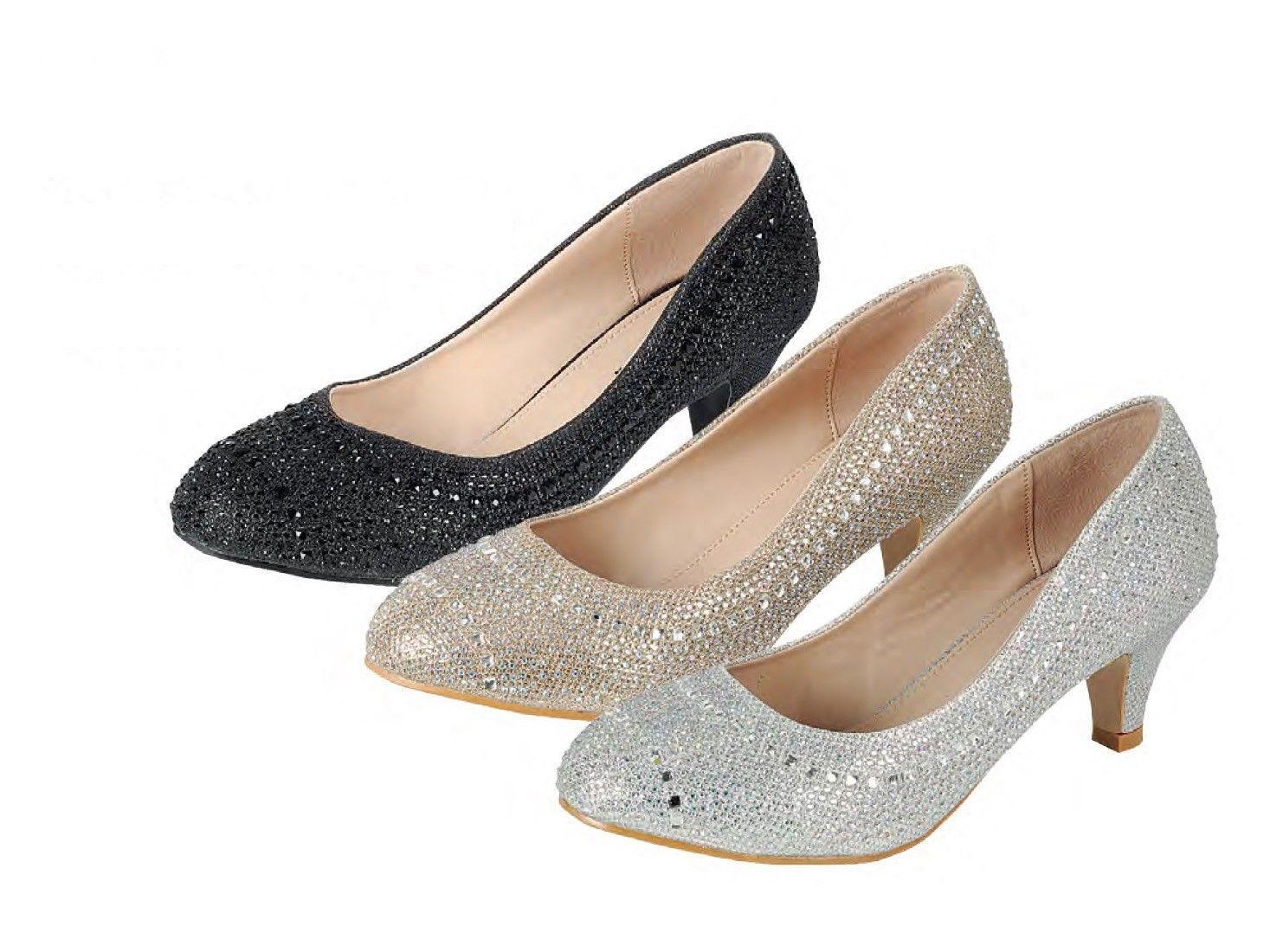Low heel dress shoes for wedding  Glitter Rhinestone Crystal Dress Wedding Prom Pump Shoes Med Low